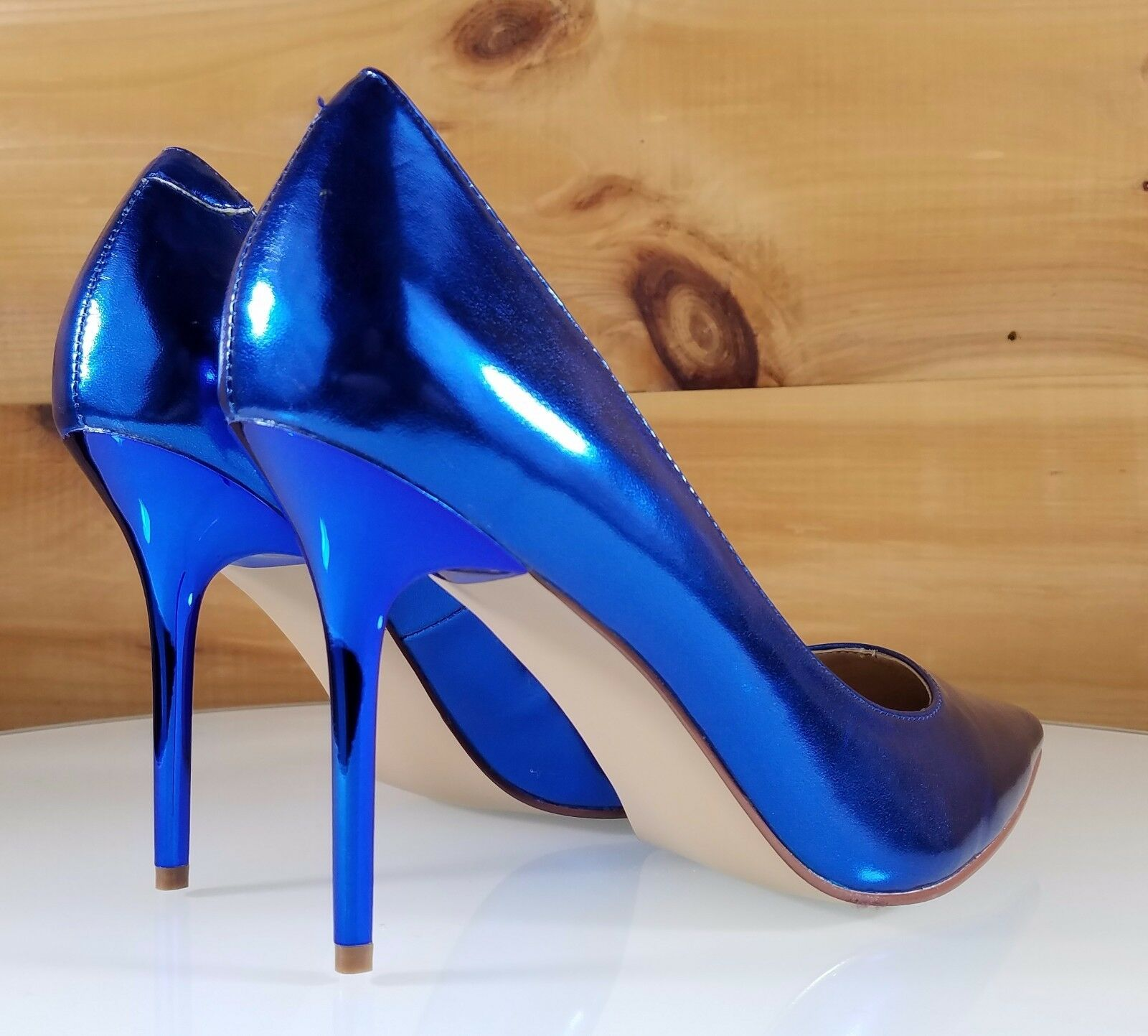 Classique 20 Pointy Toe 4 4 4  High Stiletto Heel Pumps schuhe 6 - 16 Metallic Blau 7c9aa7