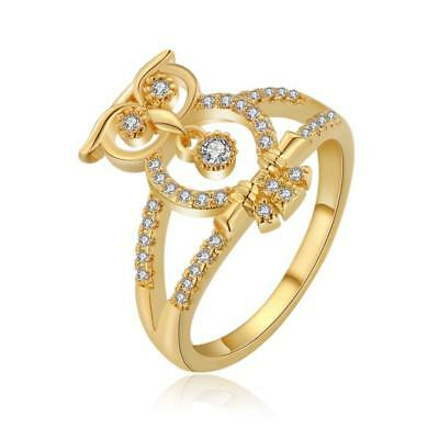 18 k Gold Plated Shiny White Cubic Zircon Ring size small medium M O FR124