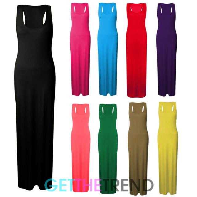 Womens Racer Back Basic Maxi Dress Ladies Plain Colour Racer Back Muscle Dress