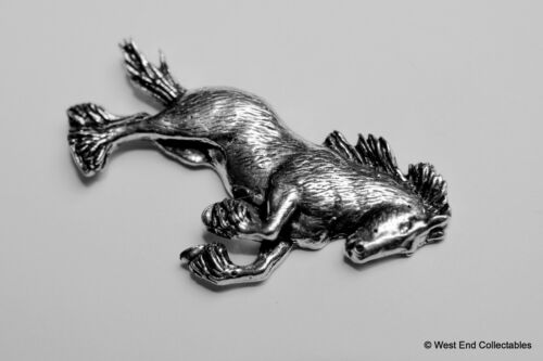 Clydesdale Shire Plough Horse Pewter Pin Brooch British Artisan Signed Badge