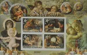 Religious Paintings Christmas Religion M/s Burundi Sc.1015 #bur11306b Imperf Stamps