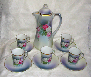 ANTIQUE TEA SET BLUE,GOLD,PINK WHITE ROSES, POT W/ 5 CUPS & SAUCERS ~ GERMANY