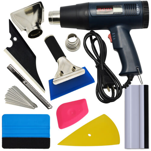 110V Heat Gun Paint Stripper DIY Tool Car Wrapping Squeegee Vinyl Tint Tools KIT