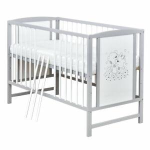 Babybett Gitterbett Kinderbett Bärchen 120x60 Grau Weiß mit Matratze