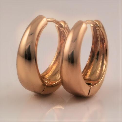 18ct Oro Lleno criollo Huggie Aro Pendientes 20mm señoras para mujer regalo Reino Unido 277