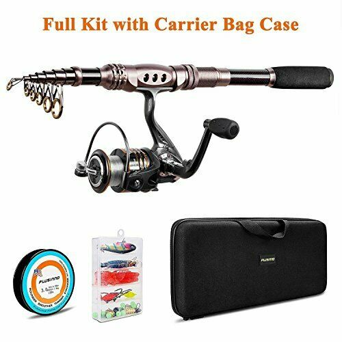 Telescopic Spinning Rod & Reel Combo w Fishing Lures & Easy Travel Carry Bag