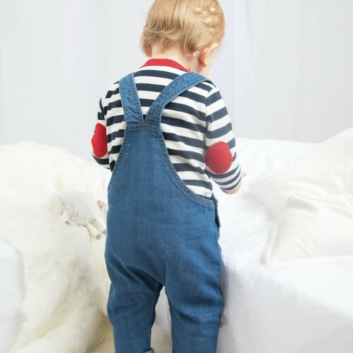 Organic Cotton New Baby Boy Girl Blue Denim Dungarees Jeans Trousers Soft Kids