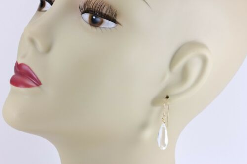 Details about  /Clear Quartz Earrings Pear Long Teardrop Smooth Natural Drops Sterling 14k Gold