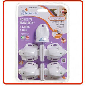 ❤ DREAMBABY Dream Baby MAG LOCK 4 LOCKS 1 KEY MAGNETIC Cabinet drawers cupboards