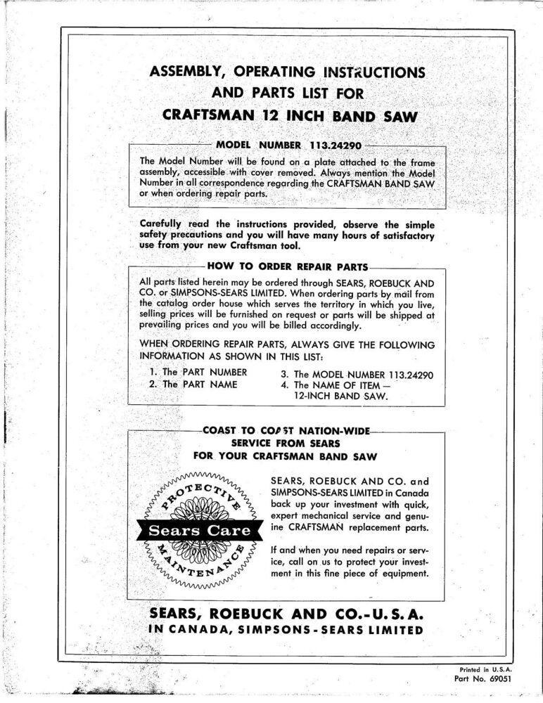 1969 Craftsman 113.24290 12