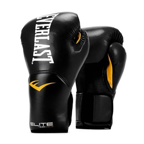 Everlast Black Elite Pro Style Boxing Gloves 12 Ounce /& 120-Inch Hand Wraps