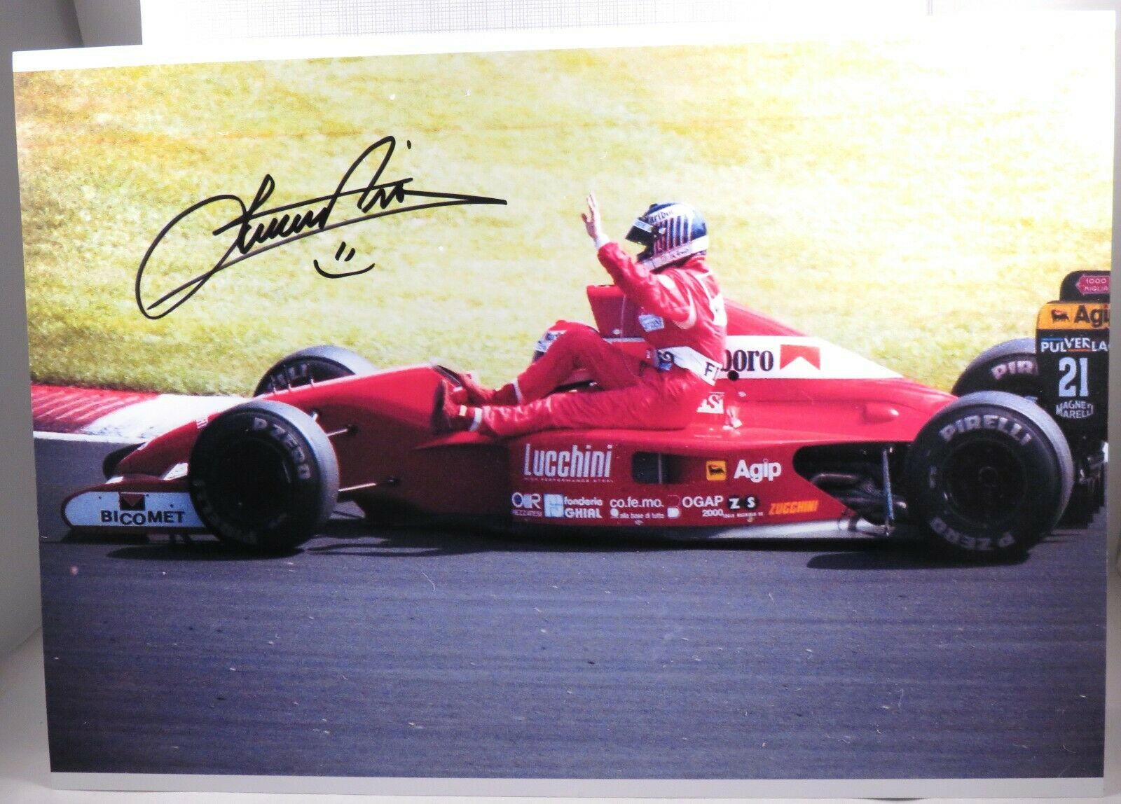 Photo cm21x30 Signed Emanuele Pirro Dallara Judd Canadian GP 1991 Taxi LETHO