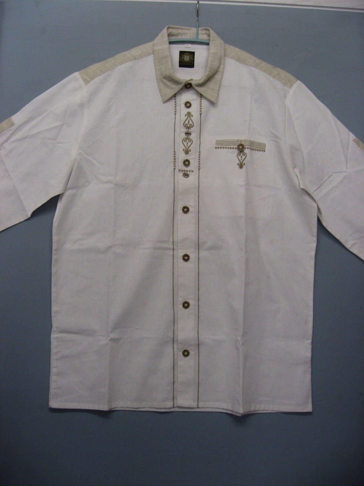 *4* HAMMERSCHMID Herren Trachtenhemd, Creme-Weiß, Gr. 41 NEU