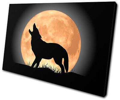 Animals Wolf Moon Wild SINGLE CANVAS WALL ART Picture Print VA