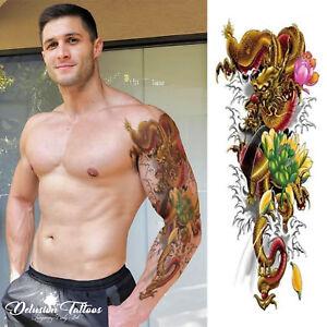 Full Sleeve Arm Temporary Tattoo Oriental Dragon Lotus Flowers
