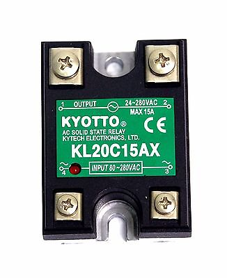 1pc KYOTTO AC Solid State Relay SSR KL20C15AX Load=24~ 280VAC 15A [ AC to AC ]