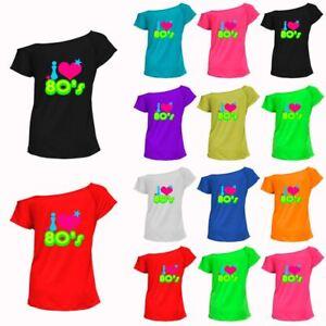 f53c53ac145e3 Womens Ladies I Love The 80 T shirt Pop Star Retro Fancy Dress Top ...