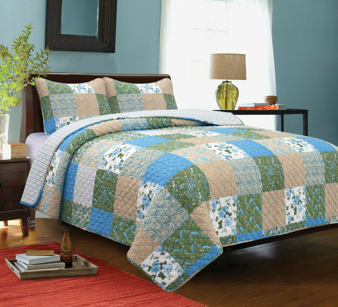 COUNTRY GARDEN 2pc Twin Quilt Set Cottage Farmhouse Floral Paisley Country