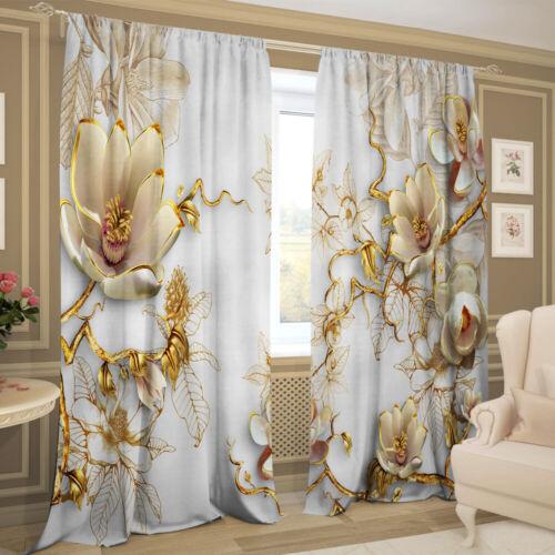 Gabardine 2er Set 145 х 245 cm Gardinen 3D Fotodruck Vorhang Porzellanpracht