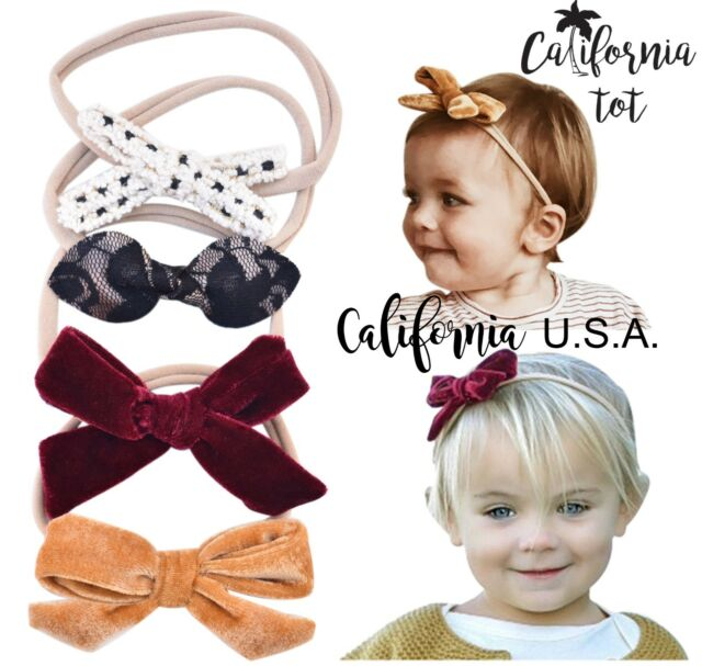 California Tot 3D Faux Suede Bow Faux  Baby Toddler Nylon Headband Set of 4