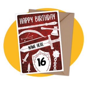 PERSONALISED-BIRTHDAY-CARD-Weapons-personalized-video-game-gamer-medieval