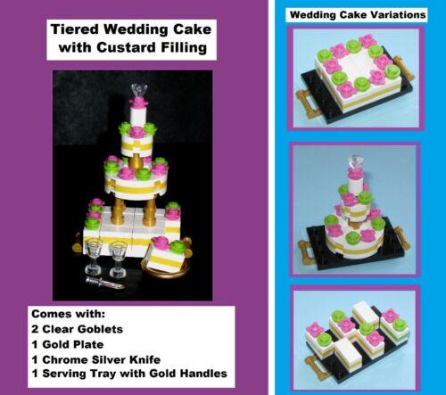 MADE OF LEGO BRICKS MOC Wedding Cake Bride Groom Wine Pastry Friend Bakery