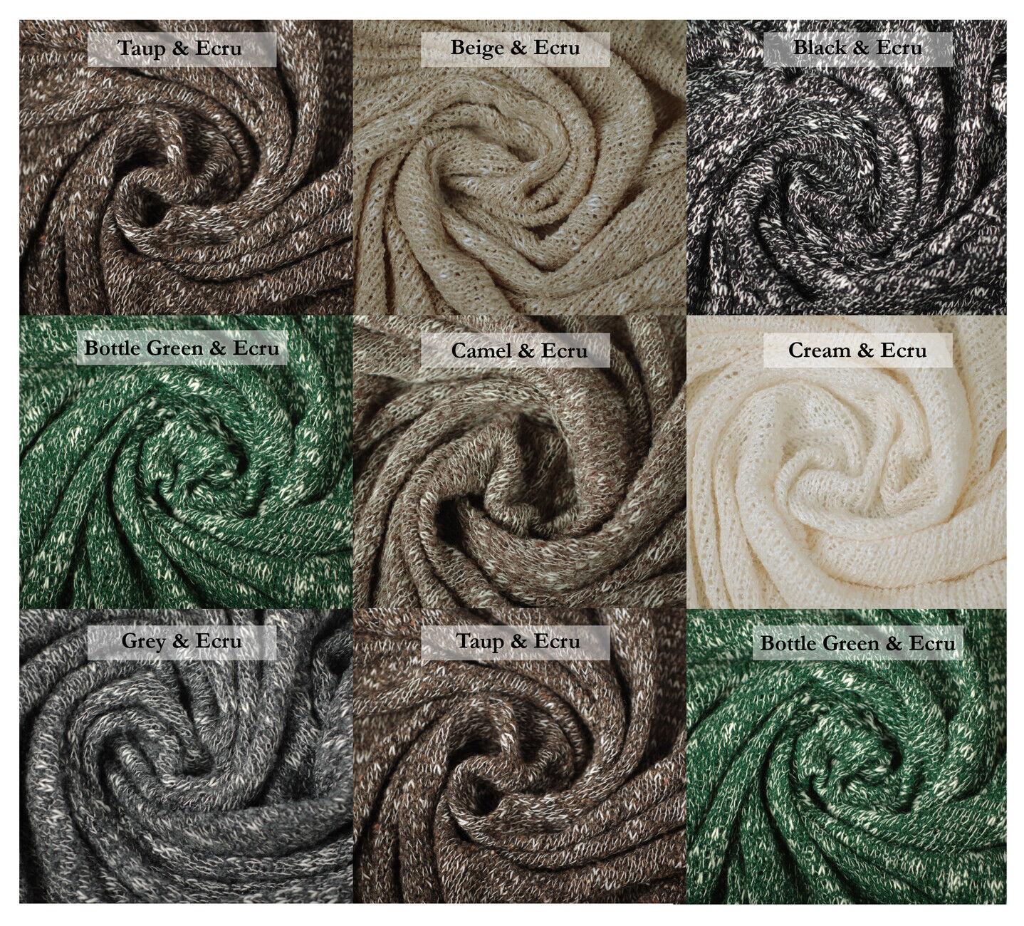 Cotton Slub Marl Knitted Jersey Fabric 2 Tone British Made Knit /& Purl Design