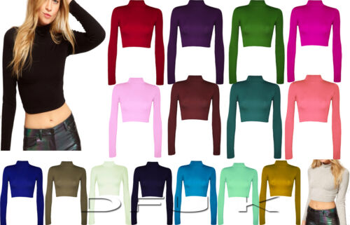 NEW POLO ROLL NECK CELEB LOOK GIRLS LONG SLEEVE SHORT STRETCH CROP TOP SIZE 8-14