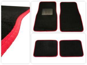 Universale-Auto-Fussmatten-Fussmatte-Schwarz-rote-Naht-Automatte-4tlg-Autoteppich