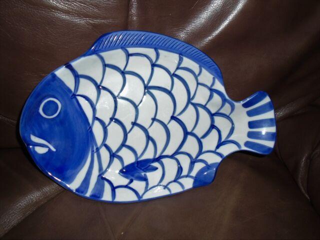 9.5 Dansk Blue and White Chowder Bowl Dansk Chowder Bowl Vintage Dansk Arabesque Fish Bowl Dansk Arabesque Fish Shaped Serving Bowl