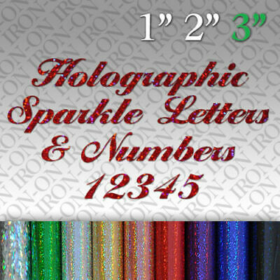 Personalized Glitter Letters Numbers Iron On transfer Hot fix Craft T-shirt HTV