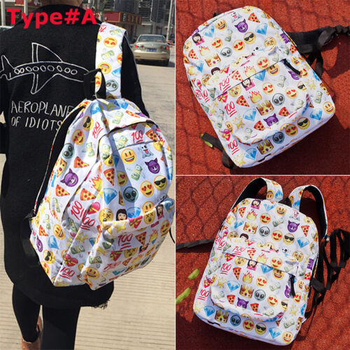 Women Emoji Canvas Backpack School Shoulder Bookbag Rucksack Travel Bags UK