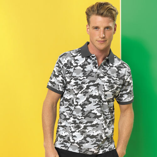 ASQUITH /& FOX MEN/'S CAMO POLO SHIRT CAMOUFLAGE ARMY PRINT CASUAL STYLE COTTON