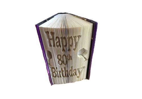 Book Art Folding PATTERN Happy 80th Cut And Fold method #375