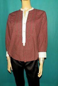 ISABEL MARANT étoile chemise petit col an coton bordeaux et blanc taille 38