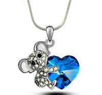 Adorable Koala Teddy Bear Blue Heart Necklace 17 Chain Gift Boxed Fast Shipping