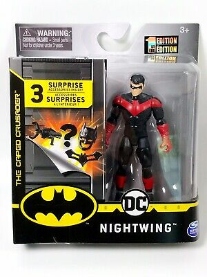 """DC Spin Master NIGHTWING 4/"""" RED VARIANT Batman 1ST EDITION Spinmaster RARE 3.75/"""""""