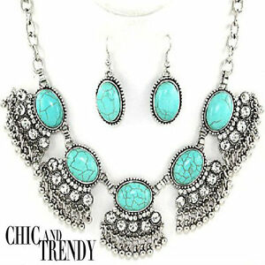 CLEARANCE-TURQUOISE-HOWLITE-amp-CRYSTAL-CHUNKY-NECKLACE-JEWELRY-SET-CHIC-amp-TRENDY