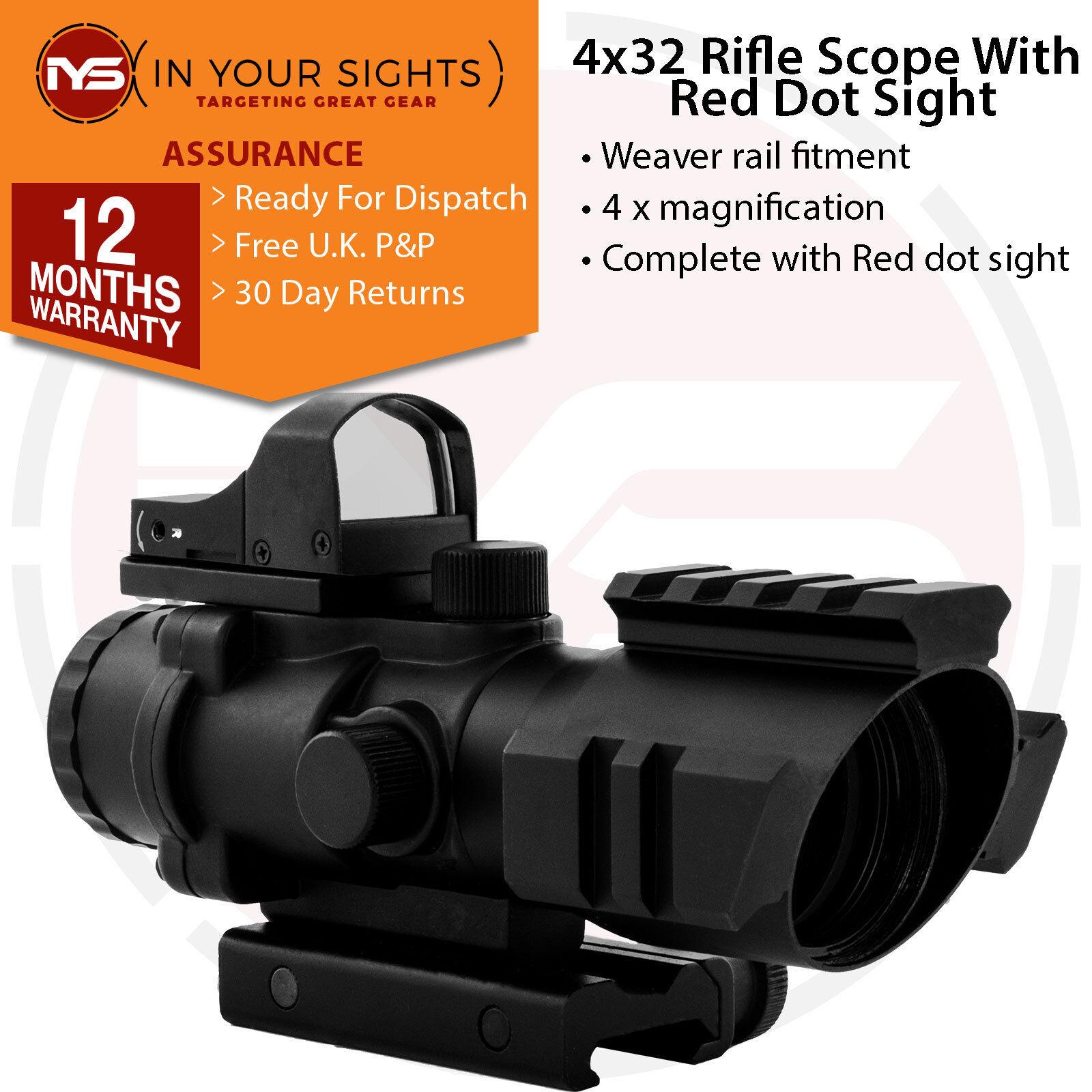 Acog 4x32 Prismáticos Alcance Del Rifle   Iluminado Retículo Mira con Rojo Visor