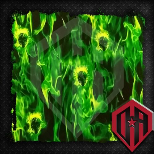 HYDROGRAPHIC WATER TRANSFER HYDRODIPPING FILM HYDRO FLAMES SKULL FIRE GREEN 2M