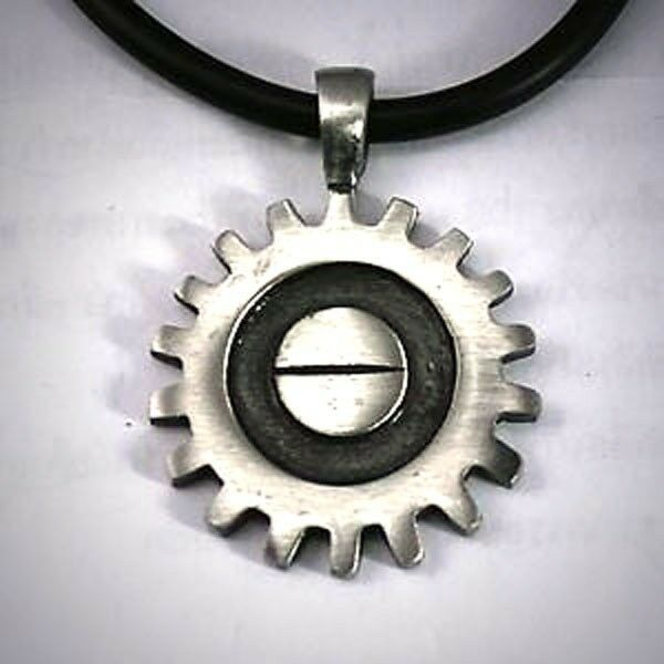 Steampunk Machine Mechanic Mechanical Gear Wheel Vector Gearwheel PEWTER PENDANT