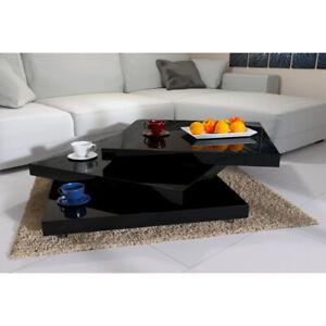 Table Basse Carre de Salon Design 76 x 76 cm  Moderne Blanc Laqué  Rotative 360°