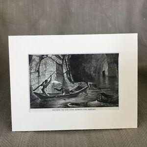 1890-Antique-Print-Mammoth-Cave-Kentucky-Echo-River-Original-Victorian-Art