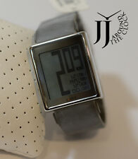 NEW PHILIPPE STARCK BY FOSSIL WATCH CHROME DIGITAL CASE GRAY RUBBER PH1080 AS IS