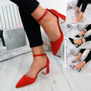 WOMENS-LADIES-ANKLE-STRAP-POINTED-HIGH-BLOCK-HEEL-PUMPS-COURT-SHOES-SIZE