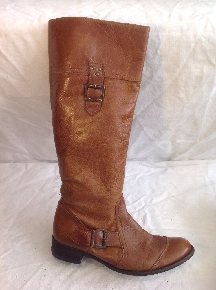Zara Brown Knee High Leather Boots Size 39
