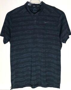 Nike-Golf-Mens-Size-2-XL-DRI-FIT-Polo-Golf-Striped-Shirt-Short-Sleeve-Dark-Green