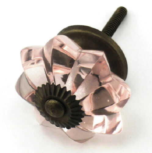Pink Antique Brass Cabinet Pulls Dresser Drawer Handles and Glass Knobs #K17