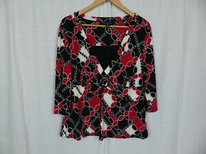 Briggs-New-York-Women-039-s-Printed-3-4-Sleeve-Blouse-Shirt-Red-White-Black-Size-1X