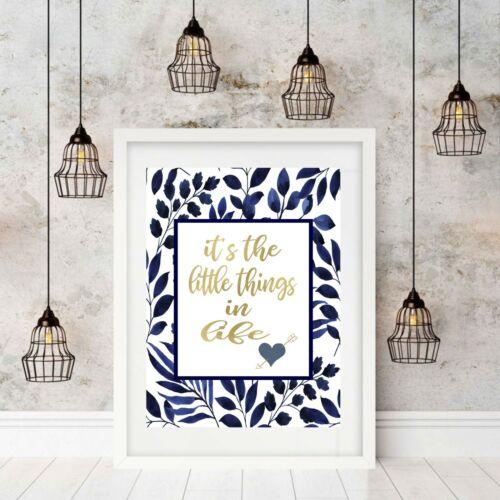 Wall Art Quotes Tropical Print Poster Indigo Blue Unframed Hamptons Decor